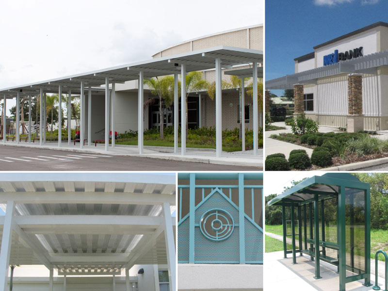 covered aluminum walkways, fencing, sunshade structures, bus shelters from cra