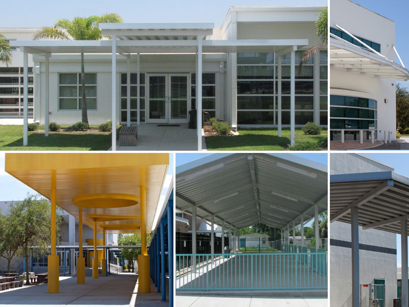 bus shelters, car ports, covered walkways, fencing from cra